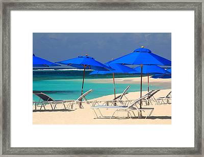 Blue Umbrellas Framed Print by Roupen  Baker
