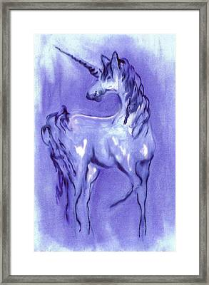 Blue Unicorn Framed Print by Carol Rowland