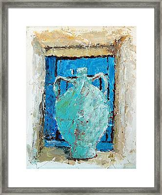 Blue Urn In A Window Framed Print by Janet Ashworth