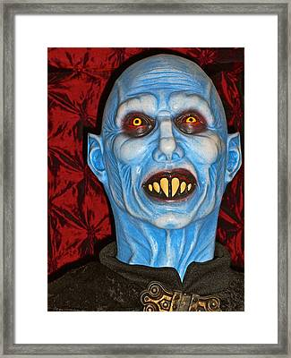 Blue Vampire Framed Print by Joan Reese