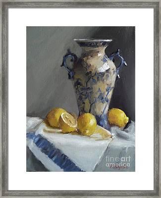 Blue Vase And Lemons Framed Print