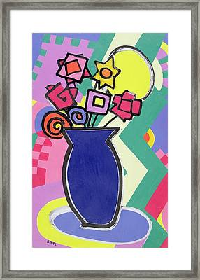 Blue Vase Framed Print by Bodel Rikys