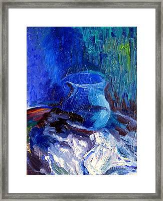 Blue Vase Framed Print by Frederick  Luff