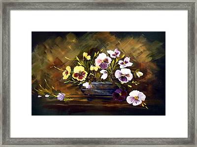 Blue Vase With Pansies Framed Print