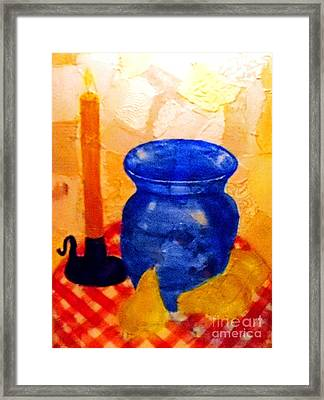 Blue Vase With Pears Framed Print