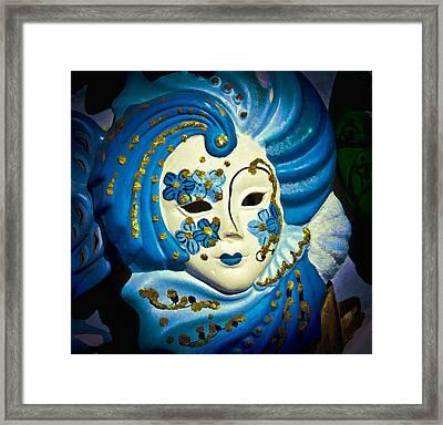 Blue Venetian Mask Framed Print by Jon Berghoff