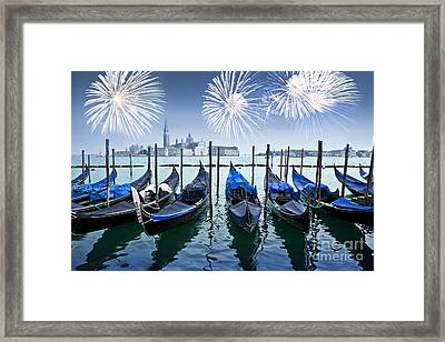 Blue Venice Fireworks Framed Print by Delphimages Photo Creations