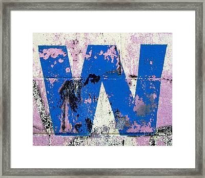 Blue W Framed Print by Ethna Gillespie