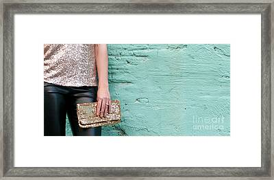 Blue Wall Gold Sequins Framed Print by Rick Piper Photography