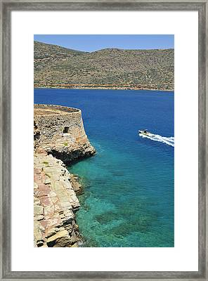 Blue Water And Boat - Spinalonga Island Crete Greece Framed Print