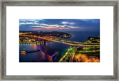 Blue Water Bridge At Dusk, Port Huron Framed Print