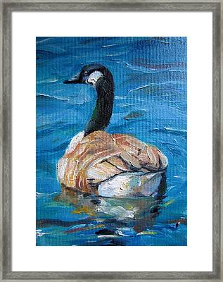 Framed Print featuring the painting Blue Water by Jieming Wang