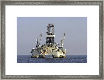 Framed Print featuring the photograph Blue Water Oil Rig by Bradford Martin