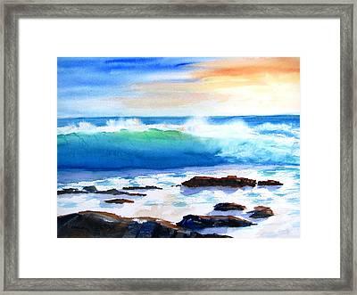 Blue Water Wave Crashing On Rocks Framed Print
