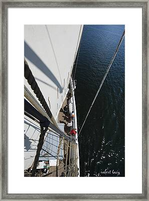 Blue Water - White Sail Framed Print by Robert Lacy
