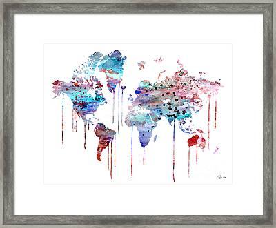 Blue Watercolor Map Framed Print by Luke and Slavi