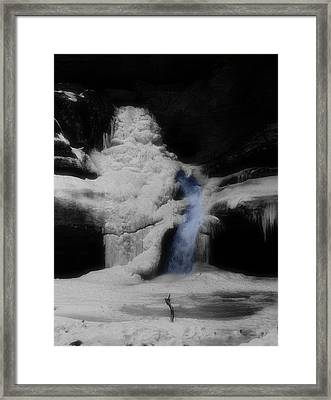 Blue Waterfall Frozen Landscape Framed Print by Dan Sproul