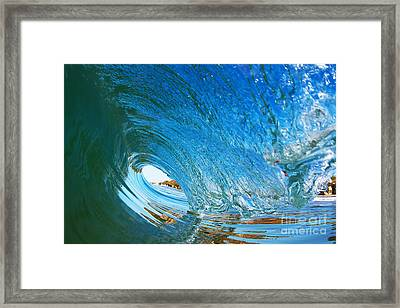 Blue Wave Curl Framed Print by Paul Topp
