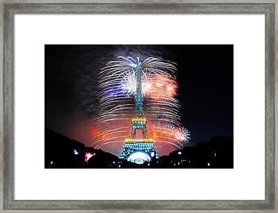 Blue White Red Fireworks Framed Print