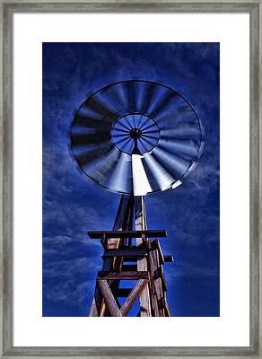 Blue Windmill Framed Print