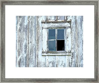 Blue Window In Weathered Wall Framed Print