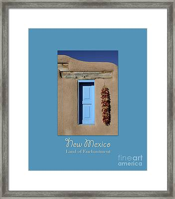 Blue Window Of Taos With Text Framed Print by Heidi Hermes