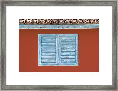 Blue Window Shutter Of Aruba Framed Print