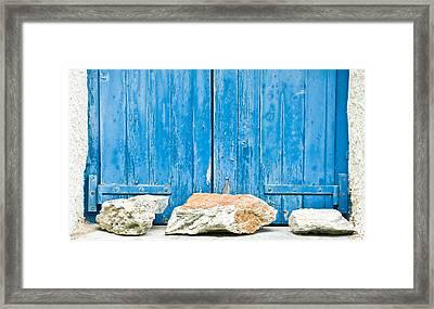 Blue Window Shutters Framed Print by Tom Gowanlock