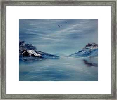 Blue Winter Reflections Framed Print by Cynthia Adams