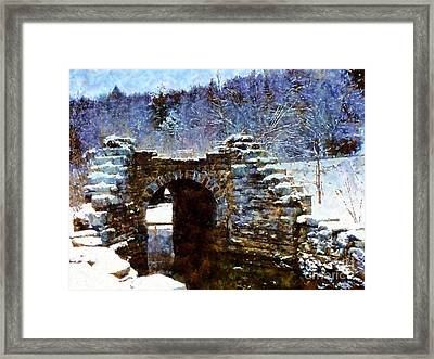 Blue Winter Stone Bridge Framed Print by Janine Riley