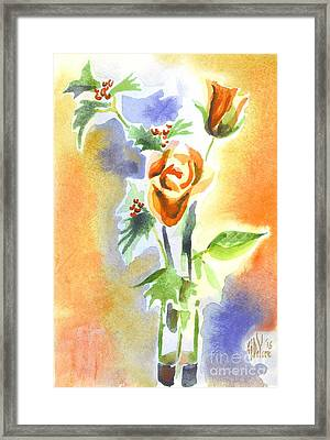 Framed Print featuring the painting Blue With Redy Roses And Holly by Kip DeVore