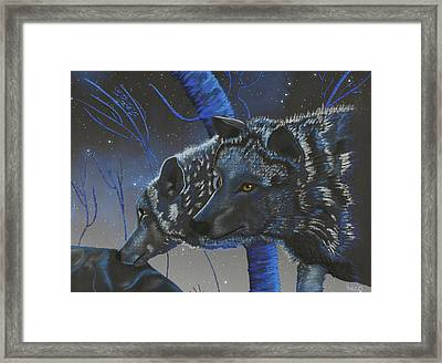 Blue Wolves With Stars Framed Print