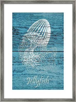 Blue Wood Jellyfish Framed Print by Cora Niele