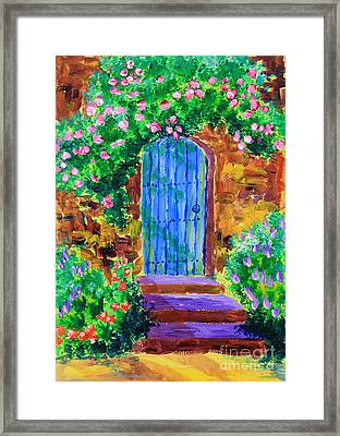 Blue Wooden Door To Secret Rose Garden Framed Print