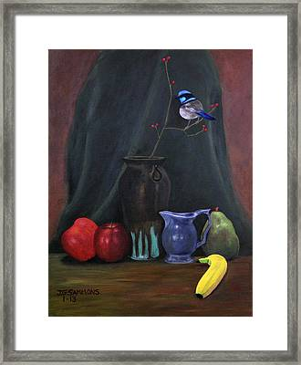 Blue Wren And Fruit Framed Print