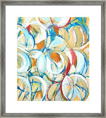 Blue Yellow Abstract Circle Dance Framed Print