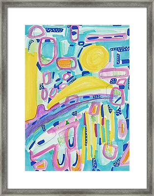 Blue Yellow And Pink Framed Print