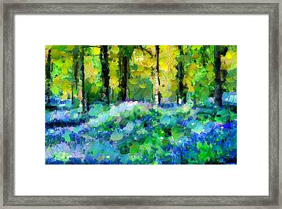 Bluebells In The Forest - Abstract Framed Print by Georgiana Romanovna