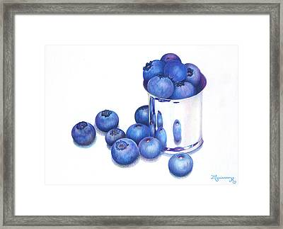Blueberries And Silver Framed Print