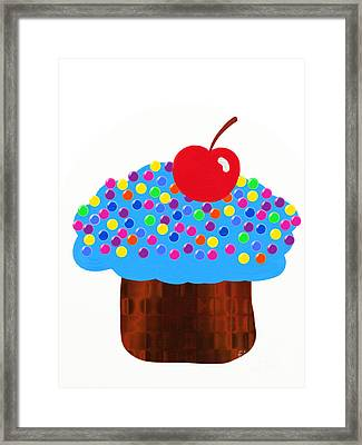 Blueberry Cupcake Framed Print by Andee Design