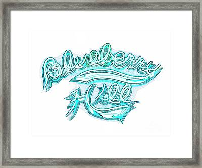 Blueberry Hill Inverted In Neon Blue Framed Print by Kelly Awad