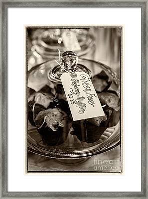 Blueberry Muffins Sepia Framed Print