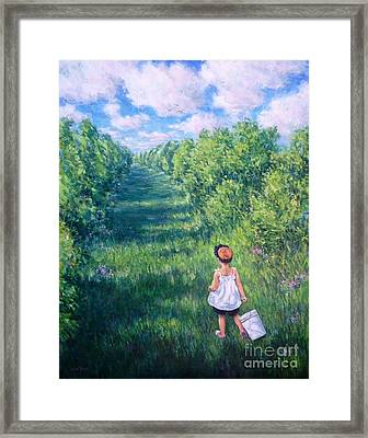 Blueberry Picking Framed Print by Vickie Fears