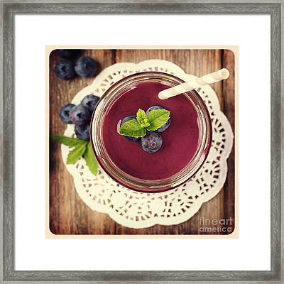 Blueberry Smoothie Retro Style Photo.  Framed Print by Jane Rix