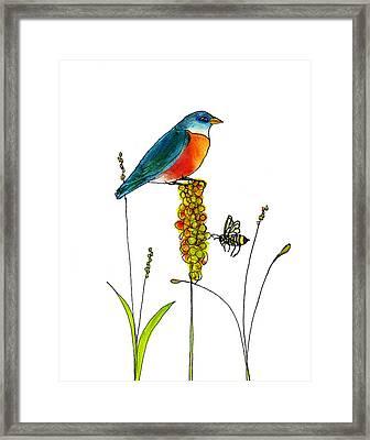 Bluebird And Bee Framed Print by Blenda Studio