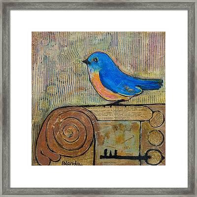 Bluebird Art - Knowledge Is Key Framed Print by Blenda Studio