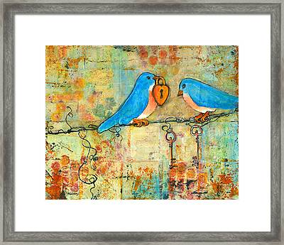 Bluebird Painting - Art Key To My Heart Framed Print by Blenda Studio