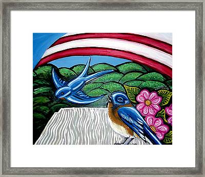 Bluebirds With Flag Framed Print by Genevieve Esson