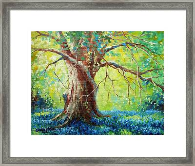 Bluebonnets Under The Oak Framed Print