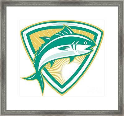 Bluefin Tuna Fish Jumping With Shield Retro Framed Print by Aloysius Patrimonio